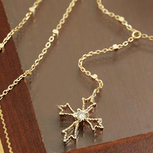 ダイヤモンド カラーゴールドネックレス レディース ペンダント・ローザンヌ大人気のクロスカラーストーン モチーフ ジュエリー ブランド 宝石
