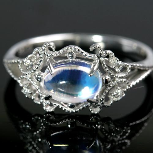 ロイヤルブルームーンストーン 6月誕生石リング ダイヤモンド K10 ピンクゴールド ホワイトゴールド イエローゴールド リング レディース 指輪・セレーネ アンティークジュエリー風 カボションカット 華奢 シンプル ファッションリング ゴージャス ブランド 宝石 おしゃれ