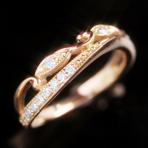 ダイヤモンド ゴールドピンキーリング レディース 指輪・プレッシュア エタニティリング レディース 指輪を重ねづけ ・・ピンキーリング レディース ファランジリング ミディリング 関節リング 華奢 シンプル ファッ ブランド 宝石 おしゃれ