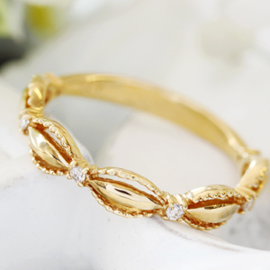 ダイヤモンド K10ゴールド リング レディース 指輪・ピシュレーナ ピンキーリング対応 ファランジリング ミディリング 関節リング 華奢 シンプル ファッションリング 可愛い ゆびわ ジュエリー ブランド 宝石 おしゃれ