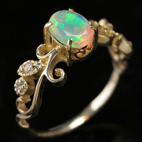 18金 エチオピア産オパール ダイヤモンド K18 ピンクゴールド イエローゴールド ホワイトゴールド リング レディース 指輪・ラルミエール 18K アンティーク調 大粒 10月の誕生石リング ファッションリング 可愛い ゆびわ ブランド 宝石 おしゃれ