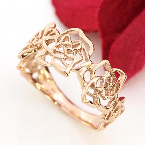 ゴールド リング レディース 指輪・シェリーローズ 大人気のバラ/薔薇カラーストーン モチーフのボリュームリング レディース 指輪 太め ファッションリング 可愛い ゆびわ ジュエリー ブランド カラフル 宝石 おしゃれ