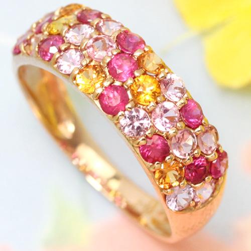 ルビー/ピンクサファイア/オレンジサファイア ゴールド リング レディース 指輪・ハイビスカス 華やかで人気のパヴェリング レディース 華奢 シンプル ファッションリング 可愛い ゆびわ ジュエリー ハワイアンジュエリー ブランド 宝石 おしゃれ