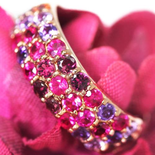 ルビー ヴァイオレットサファイア ロードライトガーネット・・ カラーストーン ゴールドパヴェリング レディース 指輪・ダリア 華奢 シンプル ファッションリング 可愛い ゆびわ ジュエリー ブランド カラフル 宝石 おしゃれ