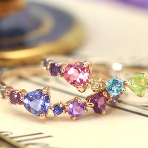 カラーダイヤモンドリング 指輪 10K レディース ダイヤモンド カラーストーン ピンクゴールド 通販 人気 おすすめ