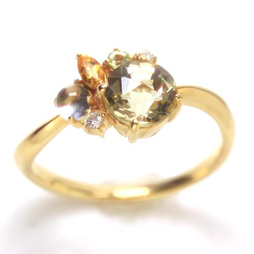 ダイヤモンド イエローグラデーション ゴールド リング レディース 指輪・イレヴァロン 華奢 シンプル ファッションリング 可愛い ゆびわ ジュエリー ブランド 宝石 おしゃれ