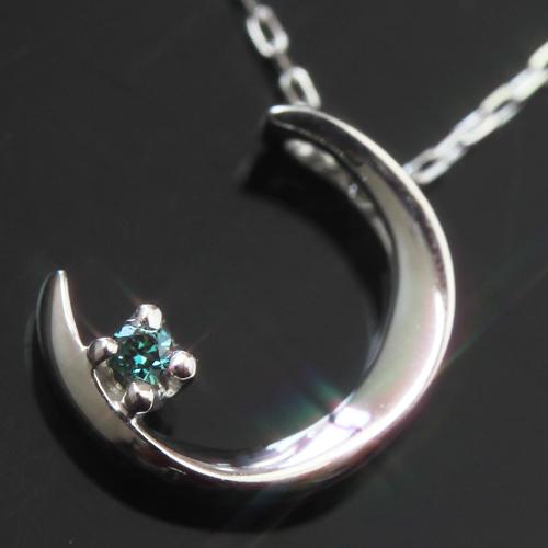 ブルーダイヤモンド K10カラーゴールドネックレス レディース ペンダント・ディアムーン大人気の三日月カラーストーン モチーフ誕生日プレゼント ジュエリー ブランド 宝石