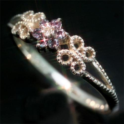エメラルドマイン社ブラジル産アレキサンドライト ダイヤモンド K18 ホワイトゴールド リング レディース 指輪・ステファンノ 18K 18金 華奢 シンプル ファッションリング 可愛い ゆびわ ジュエリー ブランド おしゃれ