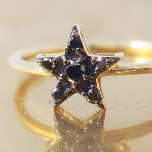 ブラックダイヤモンド K10ゴールド リング レディース 指輪・メテオール 人気のスター 星カラーストーン モチーフ ! 華奢 シンプル ファッションリング 可愛い ゆびわ ジュエリー ブランド 宝石 おしゃれ