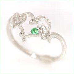 【エメラルド ダイヤモンドリング 指輪・リノン】ハートカラーストーン モチーフに神秘的に輝くエメラルドと、無垢な輝きのホワイトトパーズ、さらに贅沢にダイヤモンドをあしらって、ピュアなリング 指輪をお作りしました★ 華奢 シンプ ブランド 宝石 おしゃれ