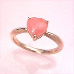 【ピンク珊瑚 ピンクゴールド リング 指輪・フェルメル】愛らしいサンゴがハートになった♪ 華奢 シンプル 可愛い ゆびわ ジュエリー ブランド 宝石 おしゃれ