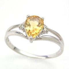 【シトリン ダイヤモンドリング 指輪・アルレール】太陽の光を想わせるゴールドカラーのシトリンに、ダイヤをそえて、贅沢なリング 指輪に仕上げました★華奢 シンプル ファッションリング レディース 可愛い ゆびわ ジュエリー ク ブランド 宝石 おしゃれ
