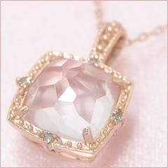 【ローズクオーツ ダイヤモンドネックレス・ロゼロマンス】たっぷり大粒10 10mmのローズクオーツに、こだわりのデザインをほどこして、ロマンティックなネックレスをお作りしました♪ ジュエリー ブランド 宝石