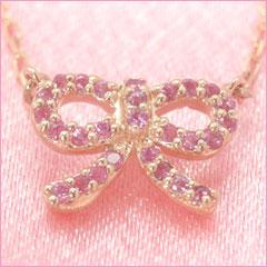 【ピンクサファイア ピンクゴールドネックレス・アリーゼ】 華奢 シンプル ジュエリー ブランド 宝石