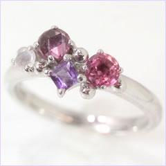 【パープルグラデーション ホワイトゴールド リング 指輪・ローレット】 華奢 シンプル 可愛い ゆびわ ジュエリー ブランド 宝石 おしゃれ