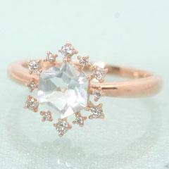 【ダイヤモンド ホワイトトパーズリング 指輪・ネージュレイナ】 華奢 シンプル 可愛い ゆびわ ジュエリー ブランド 宝石 おしゃれ