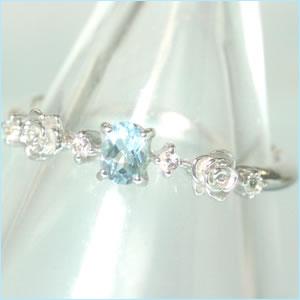 【アクアマリン ホワイトゴールド リング 指輪・サシェテ】 華奢 シンプル 可愛い ゆびわ ジュエリー ブランド 宝石 おしゃれ