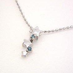 【ブルーダイヤモンド ホワイトゴールドネックレス・ブラウシュテルン】ホワイトゴールドでかたどった星カラーストーン モチーフに、夜空を映すブルーダイヤモンドをあしらって、スマートなネックレスに仕上げました★ 華奢 シンプル ジュ ブランド 宝石