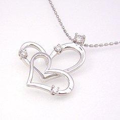 【ダイヤモンド ホワイトゴールドネックレス・ルーチェクオーレ】「幸せを呼びこむ」といわれるオープンハートに4ピースのダイヤをあしらって、ちょっぴり甘いネックレスをお作りしました★ 華奢 シンプル ブランド 宝石