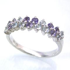 【アクアマリン アイオライトリング 指輪・マウナロア】 華奢 シンプル 可愛い ゆびわ ジュエリー ブランド 宝石 おしゃれ