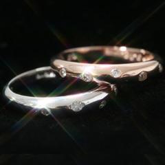 【ダイヤモンド カラーゴールドリング・ルロンド】「毎日使えるリングがほしい!!」という声におこたえして、シンプルでも上品なダイヤモンドリングをお作りしました♪ 誕生日プレゼント 華奢 シンプル ブランド 宝石