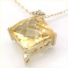 【スーパーセール10%OFF】【シトリン ダイヤモンドネックレス・ルッチェリオース】大粒シトリンにチェスカットを施して、明るいゴールドに透きとおる、華やかなネックレスをお作りしました☆ ジュエリー ブランド 宝石