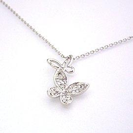 【ダイヤモンド K18ホワイトゴールドネックレス・フレイヤ】華やかな輝きの中に気品あふれる人気のパウ゛ェスタイルで、ひらひらと舞う蝶のネックレスをおつくりしました 華奢 シンプル ジュエリー ク ブランド 宝石