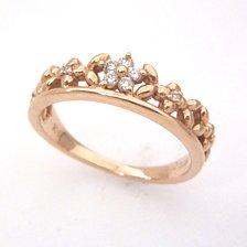 【ダイヤモンド ピンクゴールドリング・ルフィオーリ】ピンクゴールドでかたどった小花を丁寧に編みあげた花冠のカラーストーン モチーフに、ダイヤモンドの花をあしらった贅沢なリングをおつくりしました★ ボタニカル柄 ブランド 宝石