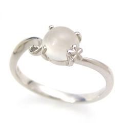 【ムーンストーン ホワイトゴールド リング 指輪・アルトシャイン】 華奢 シンプル 可愛い ゆびわ ジュエリー ブランド 宝石 おしゃれ
