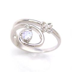 【ダイヤモンド ロイヤルブルームーンストーンリング 指輪・フィオルーチェ】繊細なシルエットがロマンチックな、めずらしいシルエットのピンキーリング 指輪をお作りしました…! ファランジリング ミ ブランド 宝石 おしゃれ