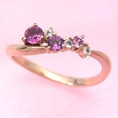 【スーパーセール10%OFF】【ローズグラデーション ピンクゴールド リング 指輪・フィオローサ】 華奢 シンプル 可愛い ゆびわ ジュエリー ブランド 宝石 おしゃれ