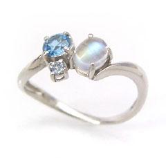 【ブルーグラデーション ホワイトゴールド リング 指輪・レイシアル】 華奢 シンプル 可愛い ゆびわ ジュエリー ブランド 宝石 おしゃれ