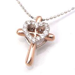 【ダイヤモンド ホワイトゴールドネックレス・ディオーネ】クロスカラーストーン モチーフにダイヤモンドのハートをアレンジして、ちょっぴり新鮮なネックレスをお作りしました♪ 華奢 シンプル ジュエリ ブランド 宝石