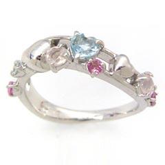 【ピンクグラデーション ホワイトゴールド リング 指輪・コンヴィエール】 華奢 シンプル 可愛い ゆびわ ジュエリー ブランド 宝石 おしゃれ