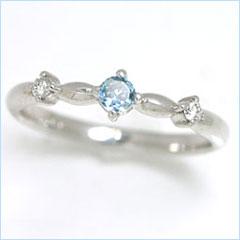 【アクアマリン ダイヤモンドリング 指輪・ユーチャリス】 可愛い ゆびわ ジュエリー ブランド 宝石 おしゃれ