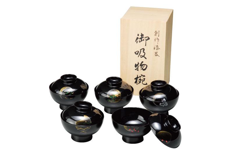 送料無料 漆器 紀州漆器 4.0 吸物椀 黒 小夜 5客 蓋付 木箱入 日本製和食器 汁椀 椀 和風64-1