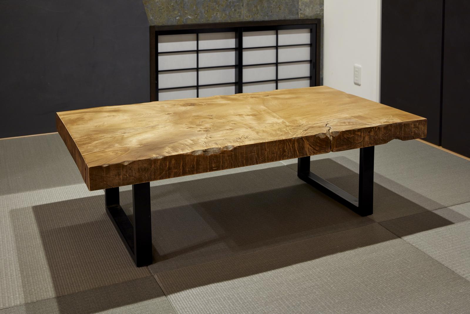 木の物語工房 サクラローテーブル 1500×660×80 一枚板 サクラ ローテーブル