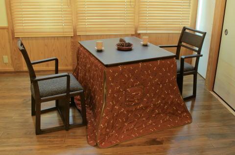 ダイニングこたつ4点セット テーブル美崎TL#90×1、椅子雫SG×2、上掛けKF-502(900×750)×1【smtb-KD】