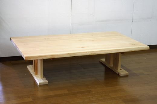 ローテーブル センターテーブル リビングテーブル 天然木 ヒノキ 無垢 耳付き 幅135cmサイズ シンプル カジュアル 自然塗料 オイル仕上げ 手作り 国産 日本製【smtb-KD】