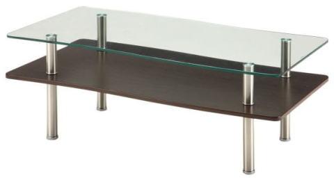 リビングテーブル センターテーブル Wave【ウェーブ】 幅110cmサイズ 波型 天板 ガラス スチール 脚 メッキ 棚板 GLT-2260 ダークブラウン色【smtb-KD】