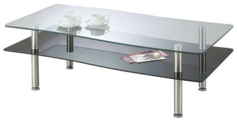 リビングテーブル センターテーブル Wave【ウェーブ】 幅110cmサイズ 波型 天板 ガラス スチール 脚 メッキ 棚板 GLT-189 ブラック色【smtb-KD】