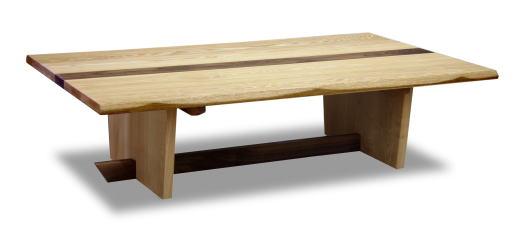 テーブル センターテーブル フロアテーブル ローテーブル 机 【カリブ】 幅135cmサイズ リビング モダン 天然木 タモ ウォールナット ライン ツートン 板脚 自然塗料 オイル仕上げ 手作り 国産 日本製【smtb-KD】