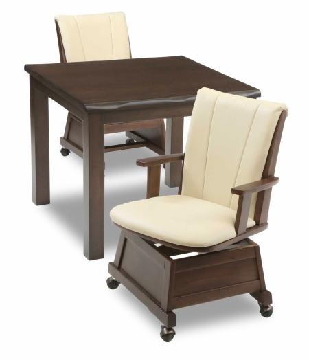 ハイタイプこたつ ダイニングこたつ 3点セット テーブル 楓80BR ×1 肘付き回転椅子 もみじ17BR ×2 リビング ダイニング 二人掛け 2人掛け【smtb-KD】