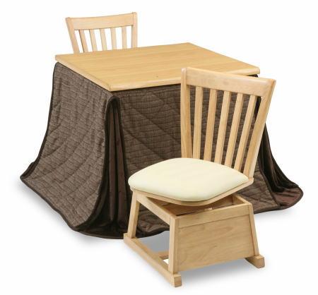 ハイタイプこたつ ダイニングこたつ 4点セット テーブル 楓80NA ×1 回転椅子 KD17NA ×2 上掛け 楓80FUO ×1 リビング ダイニング 二人掛け 2人掛け【smtb-KD】