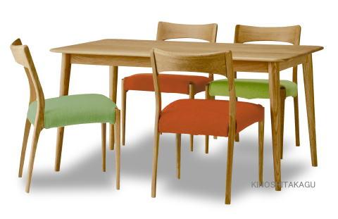 ダイニング 5点セット 食堂 食卓 テーブル 食堂 布張り ニュークローバー長方140 ×1、椅子 チェア テーブル ニュークローバー ×4脚 天然木 ナラ 無垢 ナチュラル 布張り カバーリング シンプル【smtb-KD】, ワールドサイクル:b6add844 --- officewill.xsrv.jp