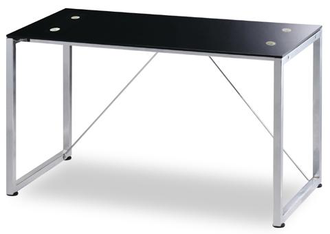 ガラスデスク RS-D8114 幅122cmサイズ パソコンデスク ワークデスク 天板 ブラック 強化ガラス 脚 クローム メッキ【smtb-KD】