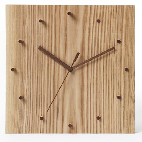 時計 クロック 【ライズ】 Lサイズ(30cm角) 天然木 タモ リビング インテリア 壁掛け デザイン シンプル アナログ スイープ型 贈り物 贈答 ギフト【smtb-KD】