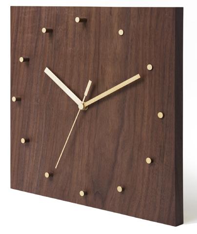 時計 クロック 【ライズ】 Lサイズ(30cm角) 天然木 ウォールナット リビング インテリア 壁掛け デザイン シンプル アナログ スイープ型 贈り物 贈答 ギフト【smtb-KD】