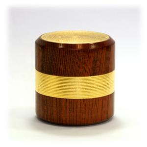 欅 千筋茶筒[金箔]金箔筋