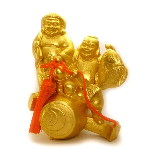 金箔貼 恵比寿・大黒天置物「小槌 福の神」
